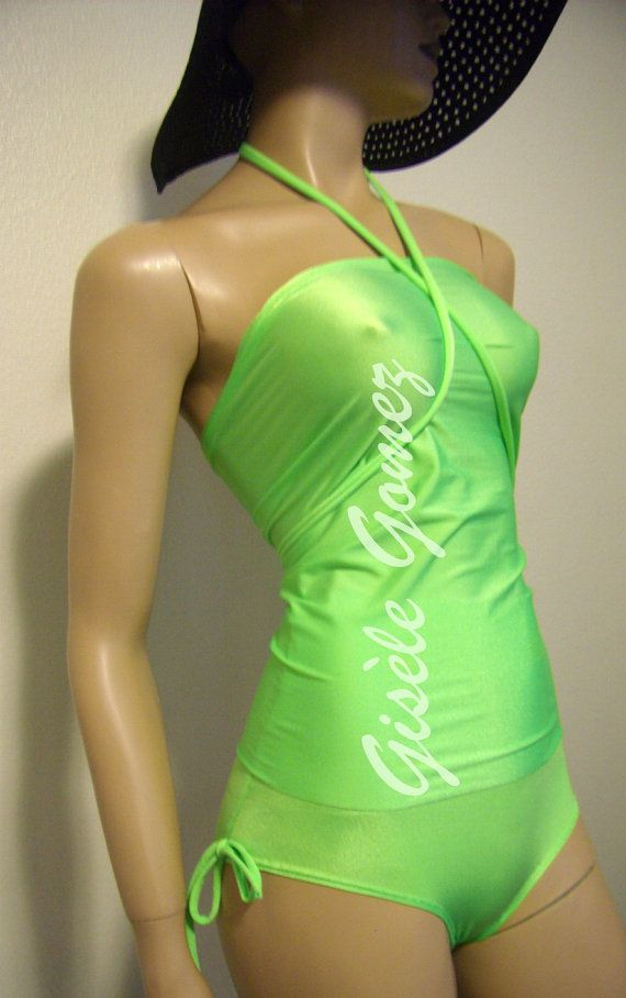 Multi-way / Multi-Kini Neon Green Swimsuit: Bandeau, Bra, Bustier or Tankini Tops worn with High-waist to low rise Bikini Bottoms