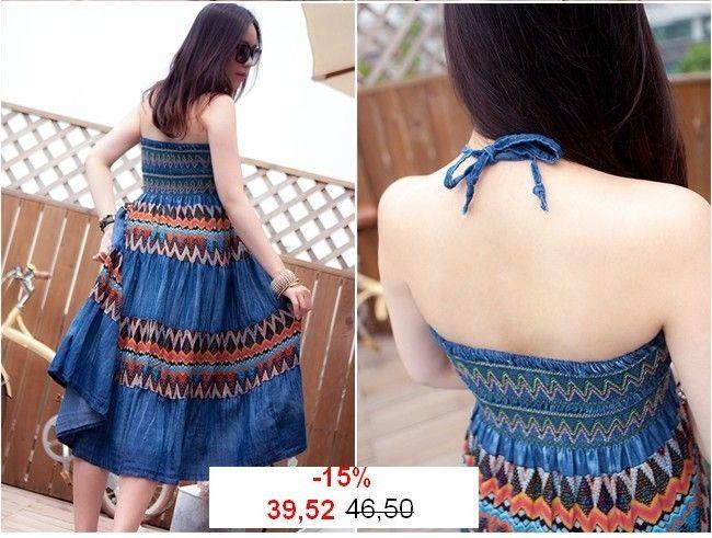 Maxi jurk, - jean effect en etnische prints-smok van Lie-Ly et Zamong op DaWanda.com