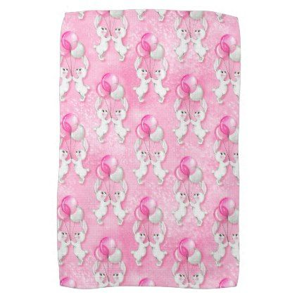 Bunny and balloons. Pink Hand Towel - kitchen gifts diy ideas decor special unique individual customized