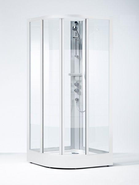 Ifö Solid kvartsrund duschkabin SKR, vitlackerade profiler med screentryckt härdat säkerhetsglas
