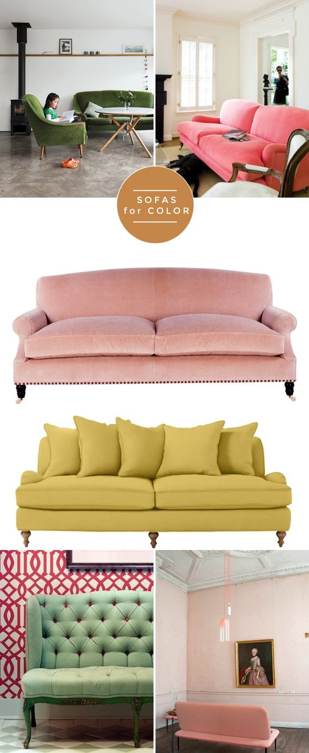 selecting the right sofa for your space: colored sofas