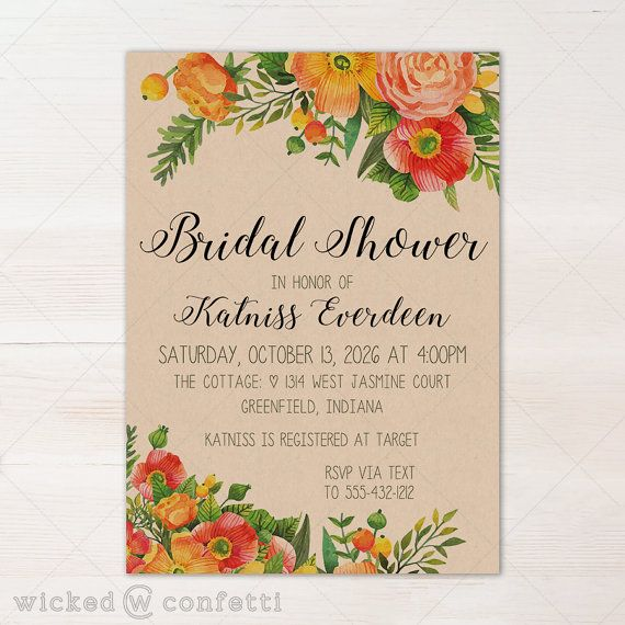 Fall Autumn Floral Bohemian Bridal Shower Invitation - **This listing is only…
