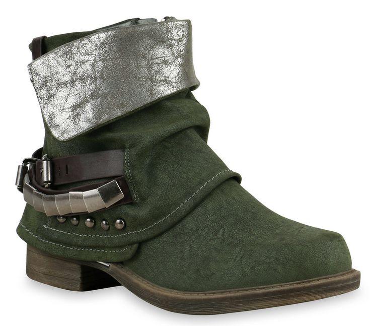 Waldgrüne Biker Boots. Diese Stiefeletten passen perfekt zum Herbst! #Boots #Fashion