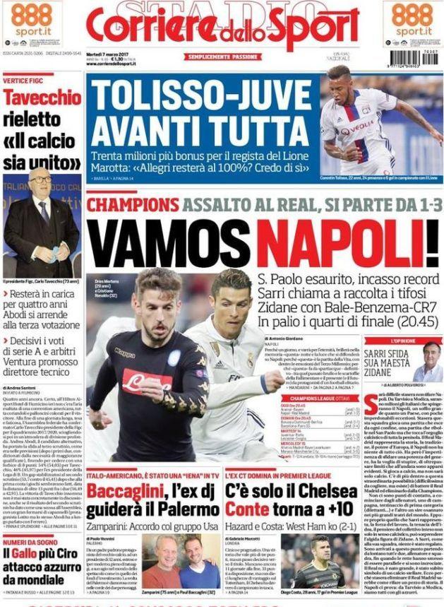 Prima pagina Corriere dello Sport Vamos Napoli! oggi 7