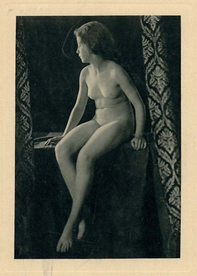 Nude woman sitting Large original Rotoprint photo. Blue ink 1900c XL231
