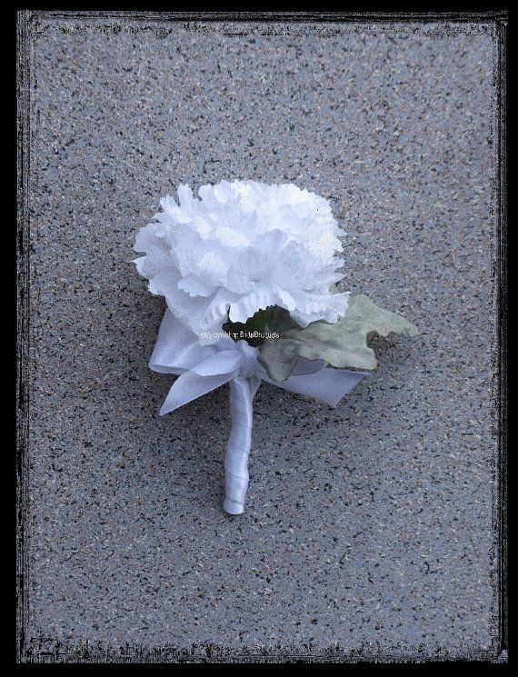 White Carnation Boutonniere by BridalBouquets on Etsy, $4.50
