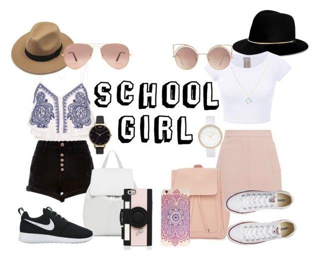 """School girl"" by gde-2001 on Polyvore featuring mode, River Island, Mansur Gavriel, NIKE, Topshop, Kate Spade, New Look, Janessa Leone, Converse en Wolf & Moon"