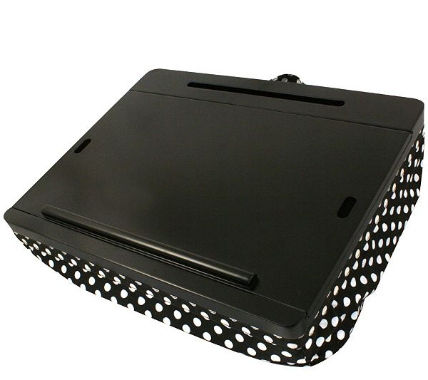 Work smarter. This innovative lap desk from iCozy is cleverly designed with three built-in storage areas to accommodate your electronic devices and accessories. Page 1 QVC.com