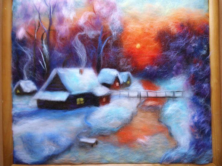 """Зимний вечер"" картина из шерсти."