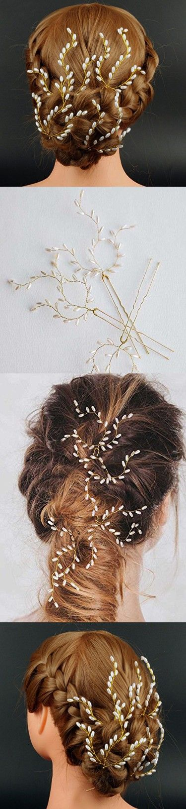 Handmade Bridal Pearl Hair Pins for Wedding Hair Accessories for Bridesmaids Jewelry and Flower Girls(pack of 4)