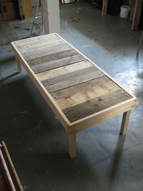Coffee table I'm making from salvaged pallet wood...in progress... pretty pleased with it so far.
