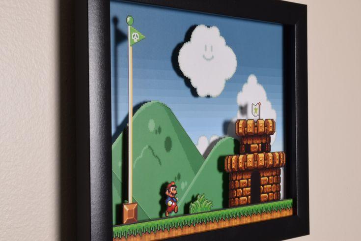 Super Mario All Stars (SNES) - «El castillo» caja de sombra de videojuegos 3D con marco de cristal por VideoGameShadowBox