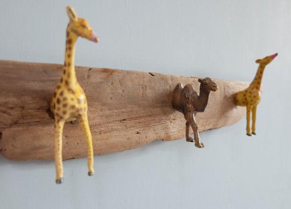 Driftwood coat hooks modern wall hooks toy giraffes & camel childrens kids hooks rack wall organizer rustic farmhouse key holder wall rack