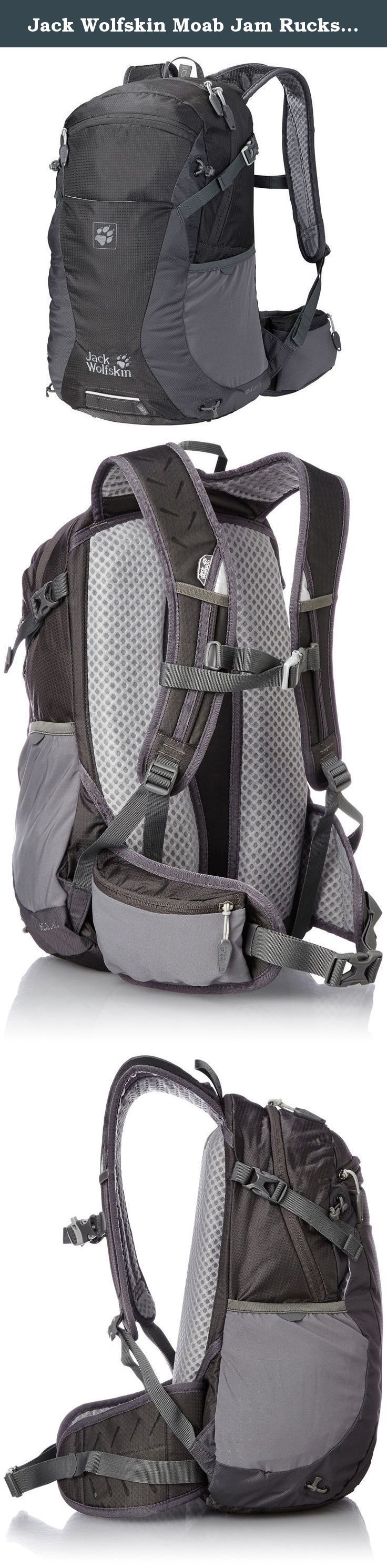 Jack Wolfskin Moab Jam Rucksack, Dark Steel, 24 L. Combines freedom of movement with versatile detailing: the moab Jam 24 is a medium-capacity, lightweight day pack for biking and hiking trips. The acs tight suspension system hugs your body and ensures full control of the load at all times. To ensure you enjoy those physically demanding activities, the central air channel at the back and the air-permeable padding provide exceptional ventilation and outstanding carry comfort.We've added…