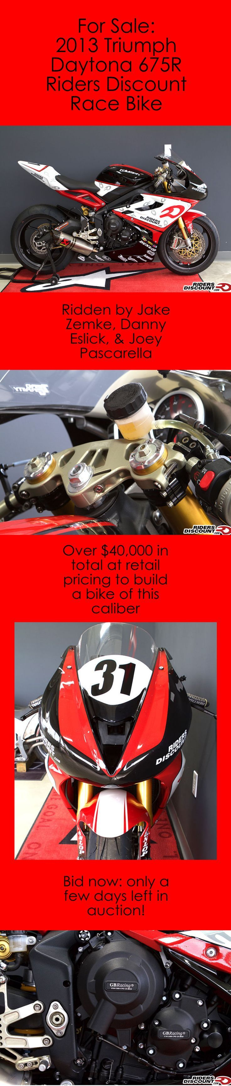 Here's your chance to have a fully developed top national motorcycle developed by some of the top riders in the US with a no reserve auction. This 2013 Triumph Daytona 675R Riders Discount race bike has been ridden by Zemke, Eslick, Pascarella, & possibly YOU! Click the image for more details.