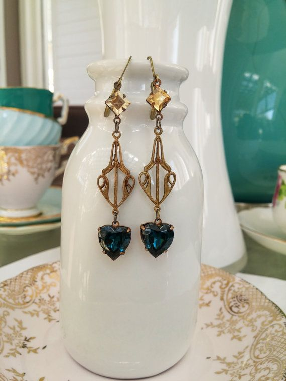 Sparkly vintage zircon heart gem earrings