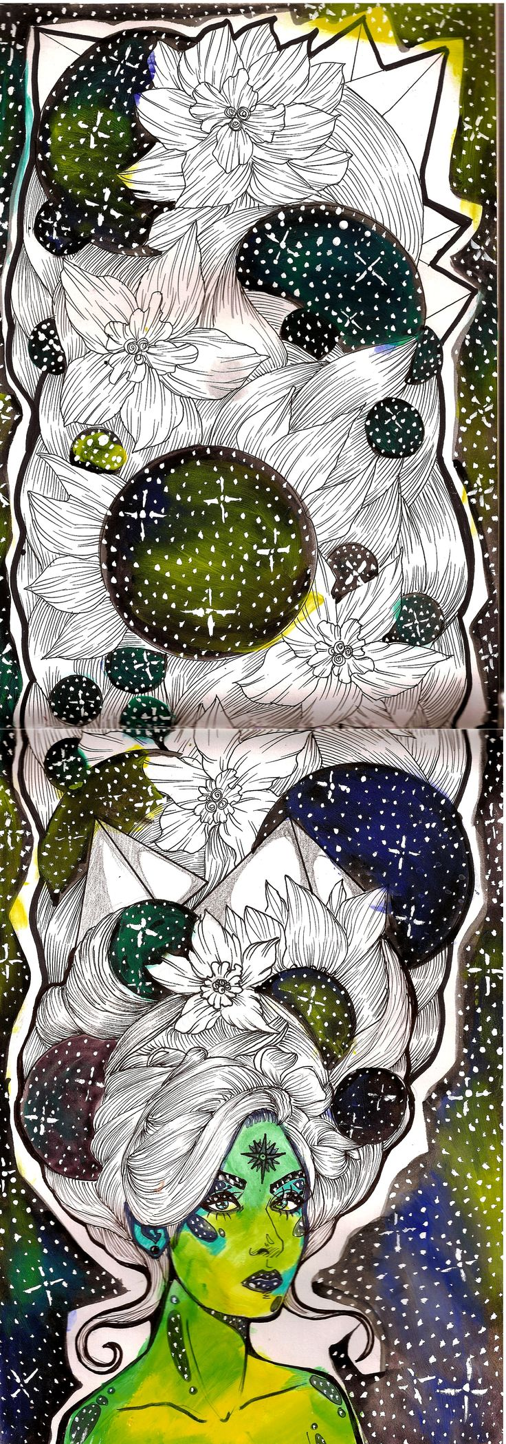 Cosmos ink and markers on paper