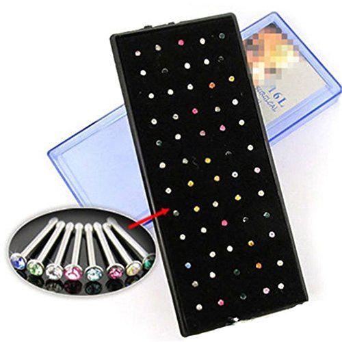 Oasis Plus 60pcs Multi-color Crystal 316L Surgical Steel Nose Ring Stud Bone Bar Body Piercing Jewelry  //Price: $ & FREE Shipping //     #hair #curles #style #haircare #shampoo #makeup #elixir