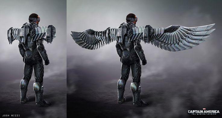 "Concept art by Josh Nizzi for Falcon/Sam Wilson's uniform from ""Captain America:The Winter Soldier"" (2014)."