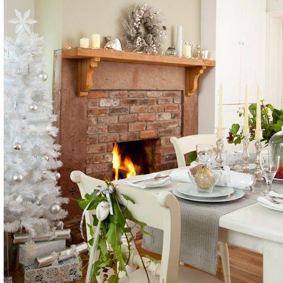 Sage and white festive dining room | housetohome.co.uk