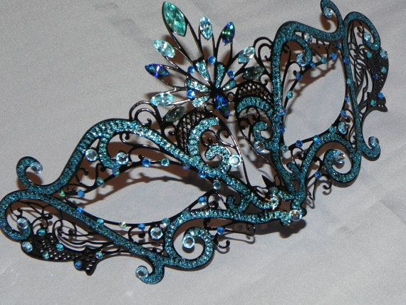 Blue black Colombina Mask <3 the rhinestone work!