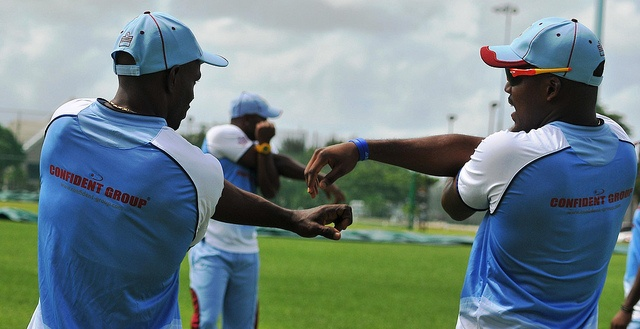 Day 2 ~ Pre Champions Trophy 2013 Barbados Camp: Devon Smith and Darren Bravo chat while warming up.