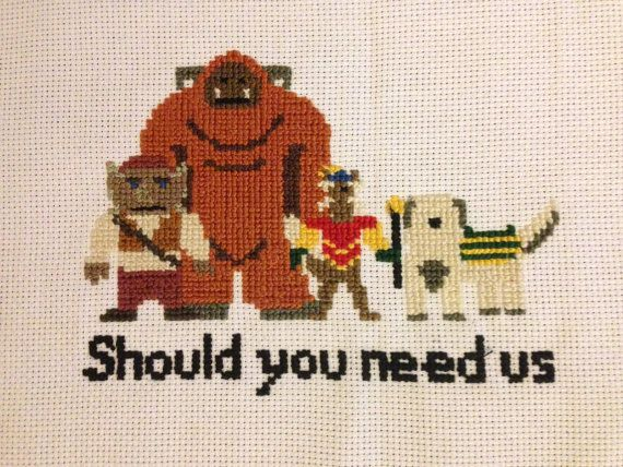 "The Labyrinth ""Should you need us"" cross-stitch"