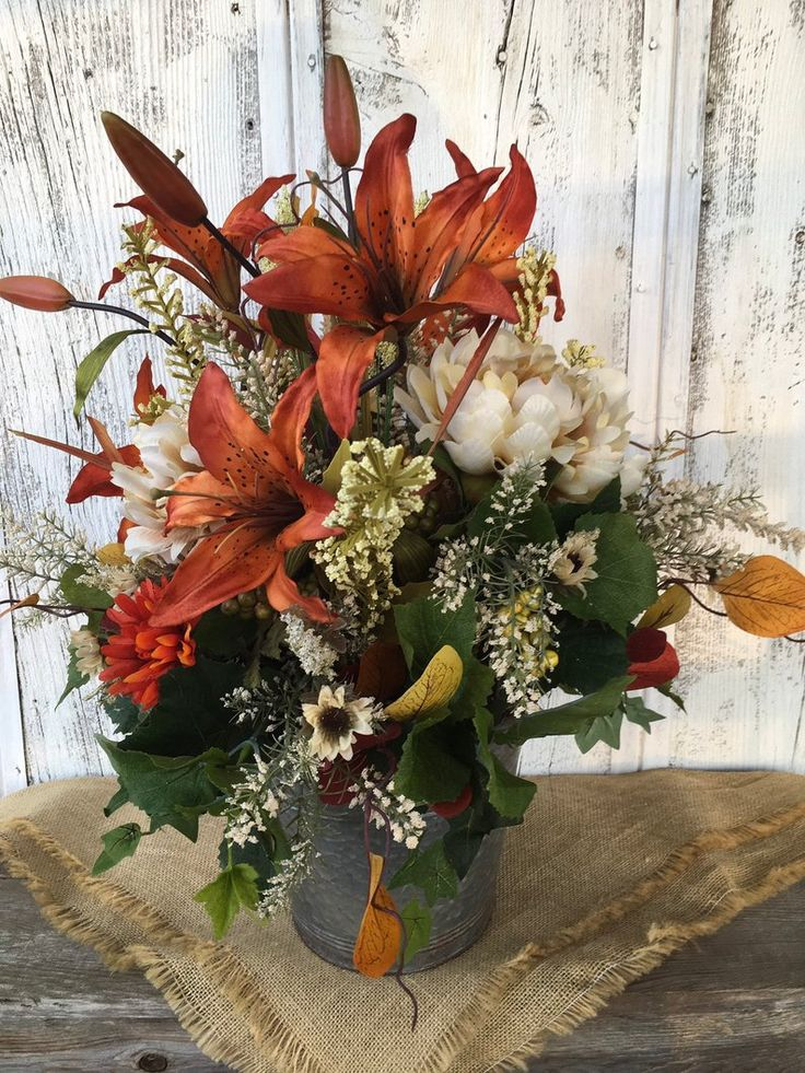 Burnt orange lily and cream peony summer floral