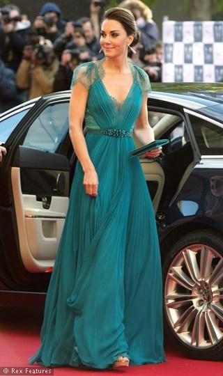 Jade Green Jenny Packham Dress on Catherine, the Duchess of Cambridge. dramatic color?