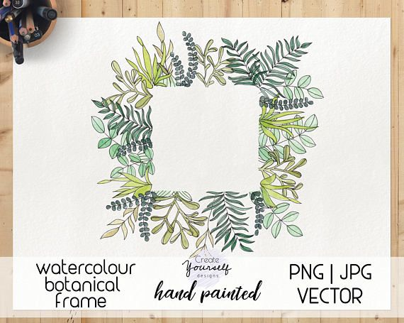 New watercolour botanical frame design elents available here : https://www.etsy.com/listing/568464948/watercolor-leaves-frame-watercolor