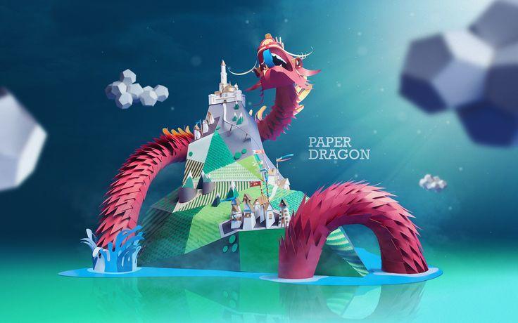 Impresionante dragón de papel por INK Studio | Len & Pix