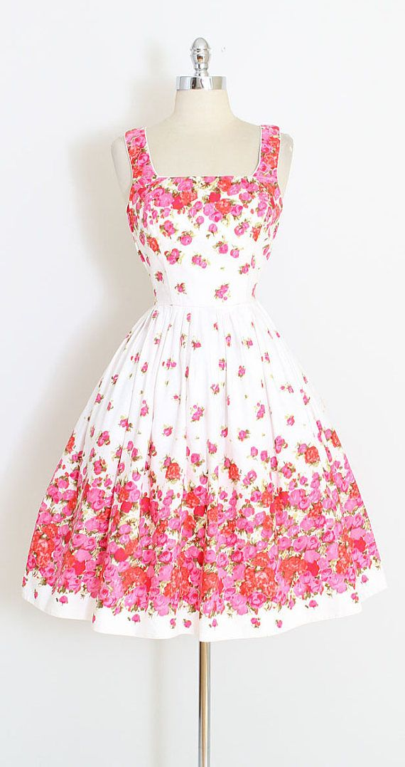 ➳ vintage 1950s dress  * beautiful rose print brushed cotton * adjustable button straps * smocked sides * built in shelf bust * metal back zipper * gorgeous Schwartz-Leibman Textiles fabric * by Muriel Swim & Sun of Miami  condition | excellent fits like xs/s  length 40 bodice length 16 bust 28-36 waist 24-28 hem allowance 2  some clothes may be clipped on dress form to show best fit for appropriate size.  ➳ shop http://www.etsy.com/shop/millstreetvintage?ref...