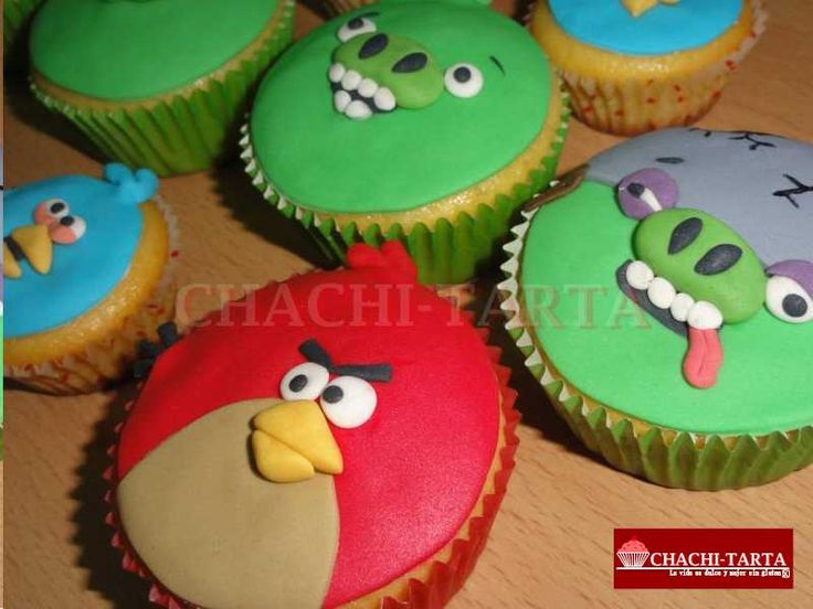 "Cupcakes ""Angry Birds"" (sin gluten)"