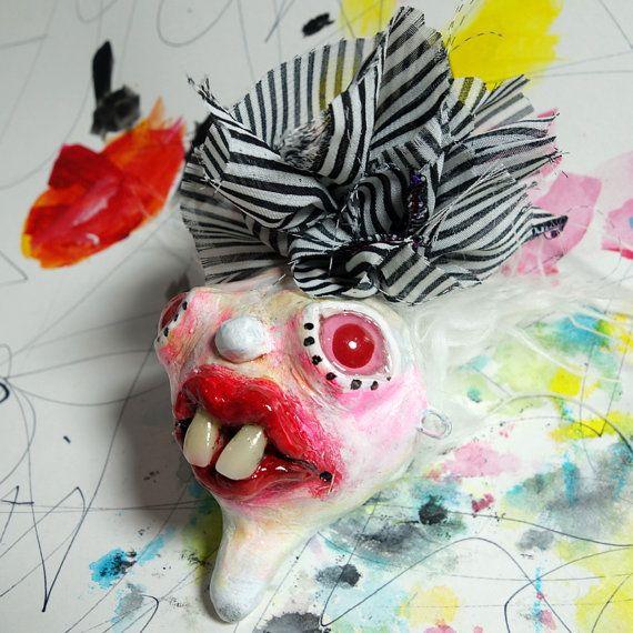 Pinhead Circus Freak, Strange Holiday Ornament Art Doll Head, punk rock Christmas Tree decoration, carnival clown