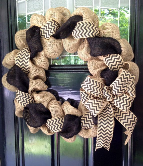 Black and Natural Chevron Burlap Wreath 22 inch for front door