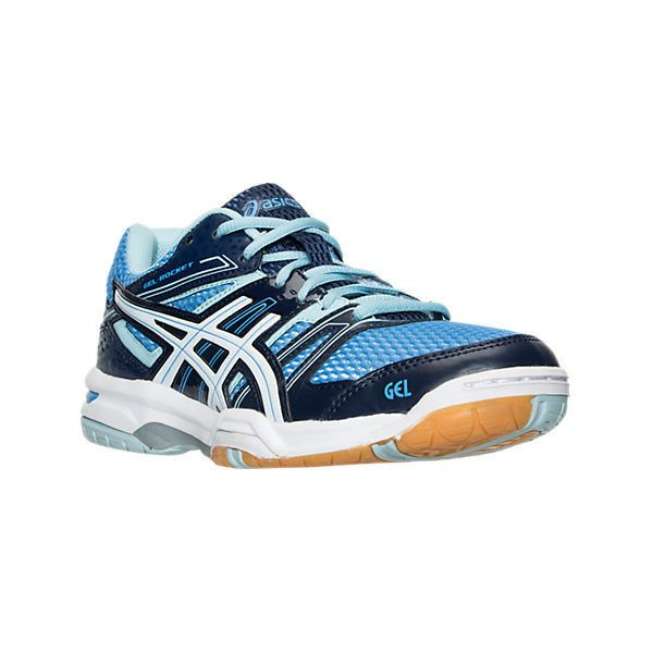 Asics Women's GEL-Rocket 7 Volleyball Shoes, Blue ($75) ❤ liked on Polyvore featuring shoes, athletic shoes, blue, asics footwear, asics shoes, spike shoes, asics and structure shoes
