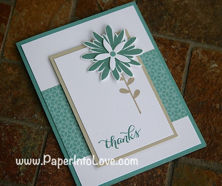 Stampin' Up Flower Patch Thank You Card in Lost Lagoon.