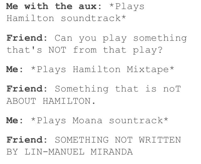 This is a conversation between my mom and I when I get the aux chord XD