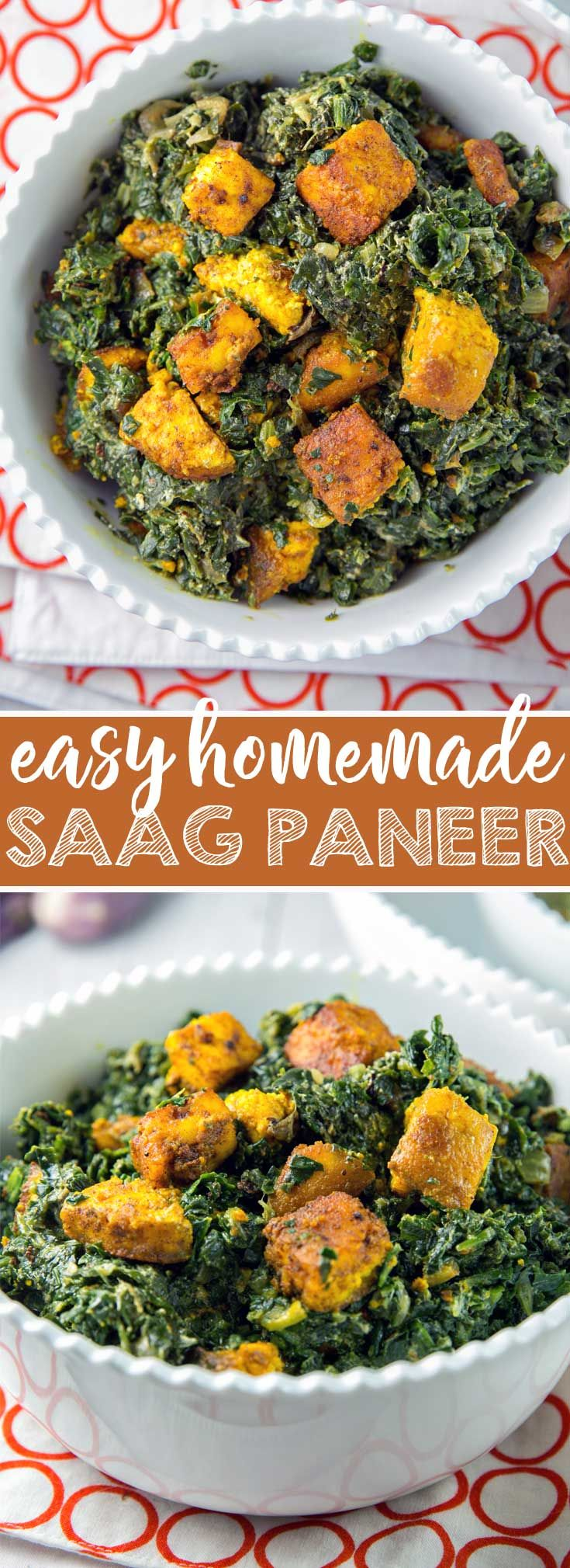 Easy Homemade Saag Panner: Make your own Indian food at home with this easy saag paneer recipe, plus substitutions if you have difficulties finding paneer. {Bunsen Burner Bakery} #saagpaneer #indian #vegetarian #glutenfree via @bnsnbrnrbakery