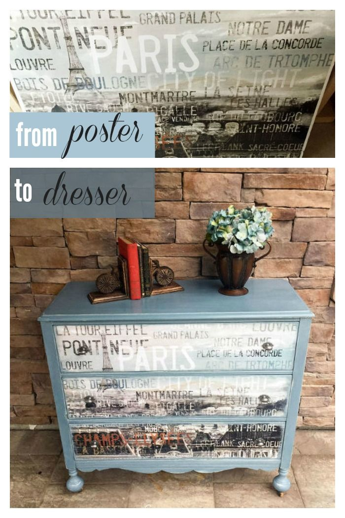 This clever DIY'er used a poster to makeover this beautiful dresser.