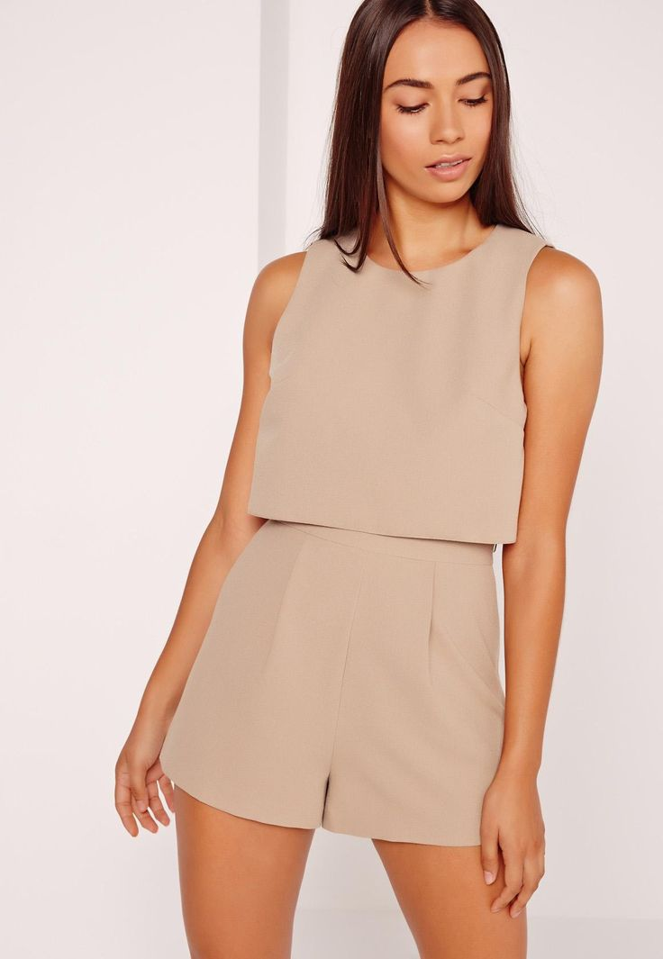 Missguided - Crepe Sleeveless Double Layer Playsuit Camel