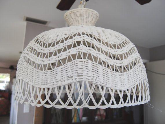 Vintage Oversized Wicker Hanging Lamp Light Fixture, Mid Century Hollywood Regency on Etsy, $75.00