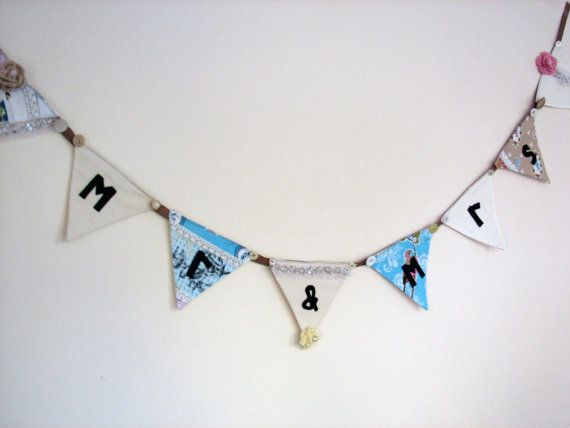 Mr & Mrs wedding bunting by Birdyheartsbuttons on Etsy, £16.00