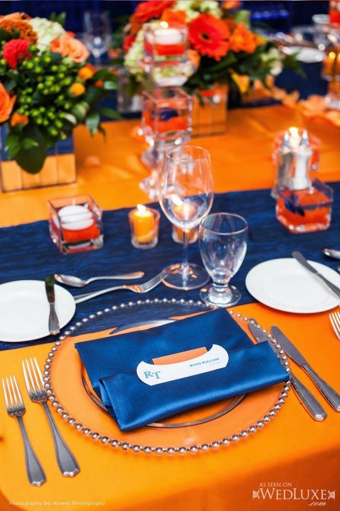 decoracao Casamento Azul e Laranja