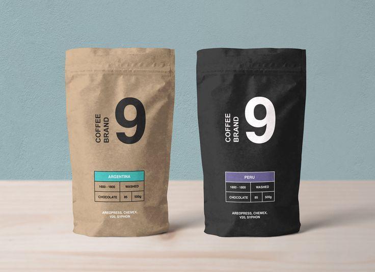 Free Kraft Paper Coffee Standing Pouch Packaging Mockup Psd Label Makanan Ide Kemasan Desain Kemasan