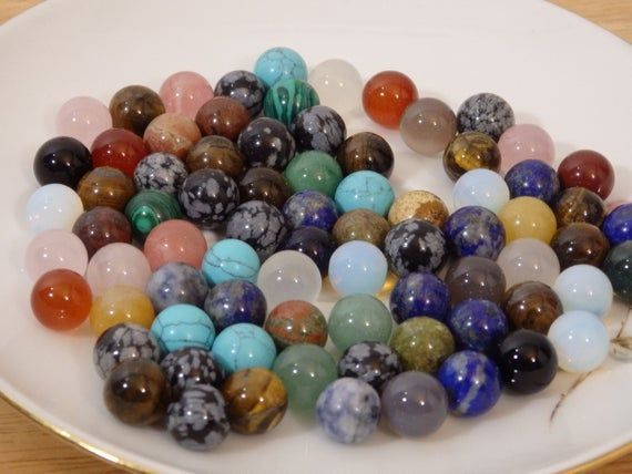 Teeny Crystal Balls Mixed Gemstone Marbles 10mm To 11mm Crystals And Gemstones Crystal Ball Gemstones