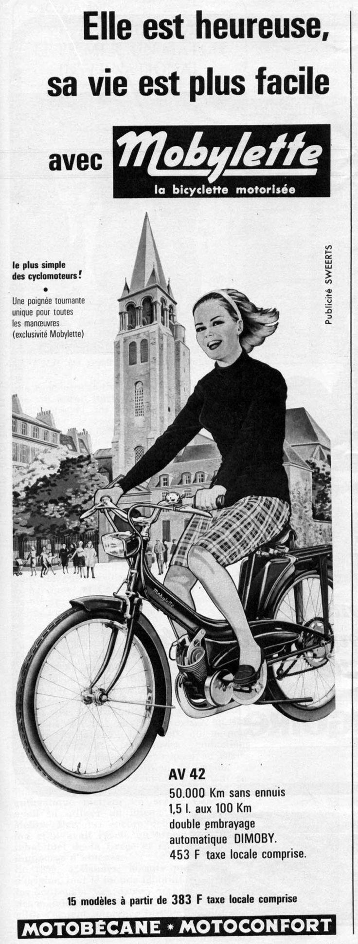 Publicité cyclomoteur Mobylette, Motobecane, Motoconfort, Mobylette AV42 de 1965