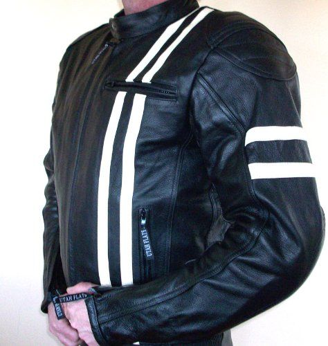 Utah Flats Cafe Racer Motorrad-Lederjacke im Retro-Look - gepr�gtes Logo & CE-Protektoren L