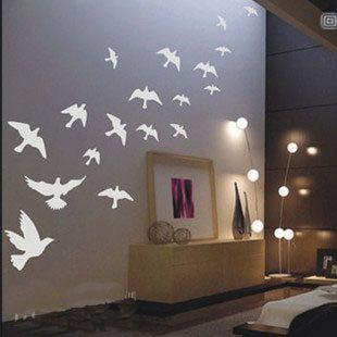 Wall Decal! Beautiful 18PCS Fly Birds Nature Vinyl Wall Paper Decal Art Sticker Q167. $15.88, via Etsy.