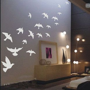 Wall Decal!  Beautiful 18PCS Fly Birds    Nature Vinyl Wall Paper Decal Art Sticker Q167. $15.88, via Etsy.